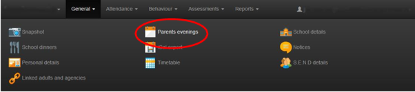 Parents eve booking page